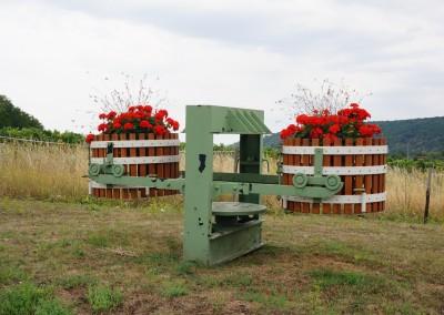 Weinkelter mit Blumenschmuck